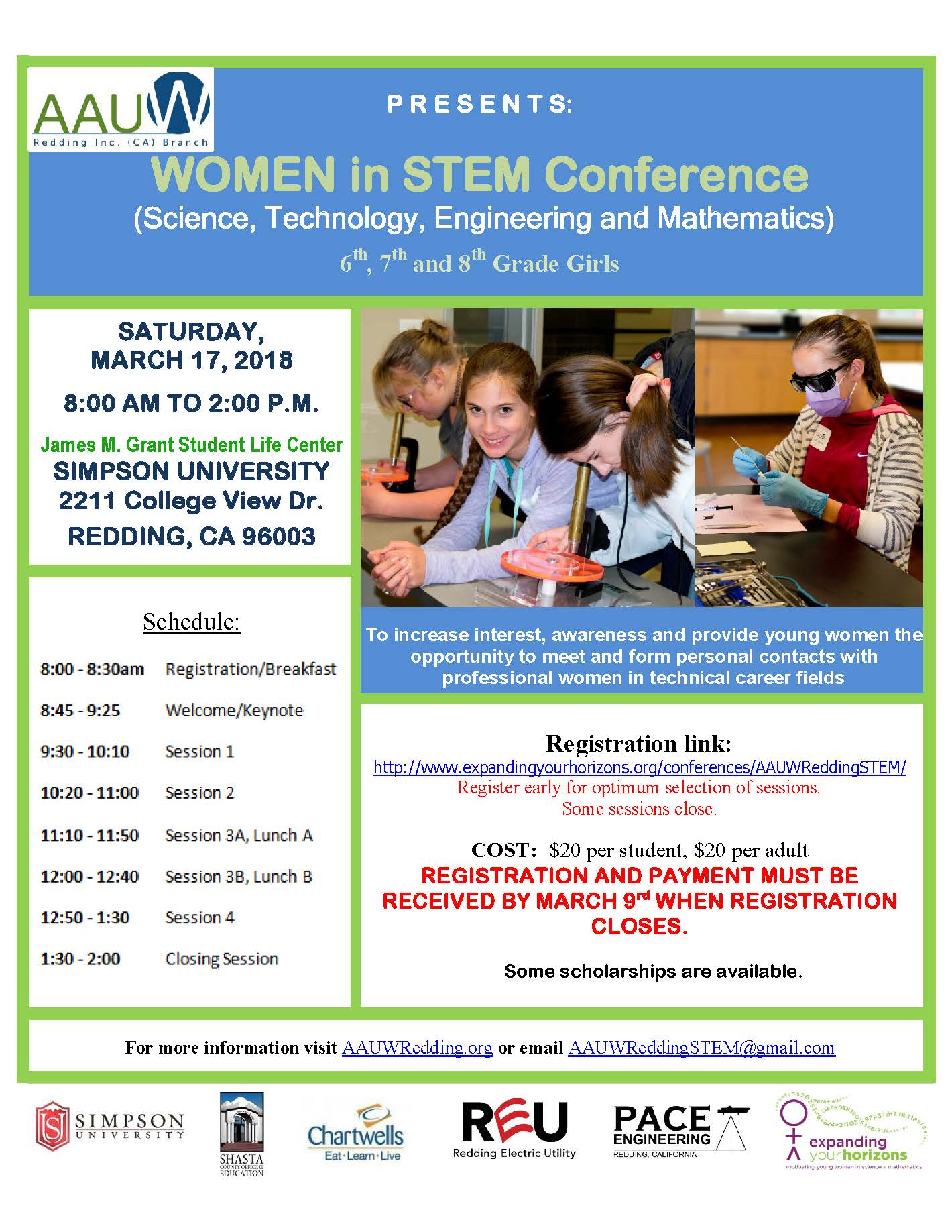 aauw women in stem conference 2018 flyer