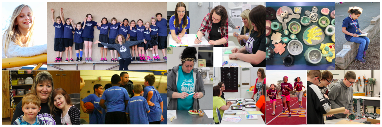 Collage of staff and students participating in various activities.