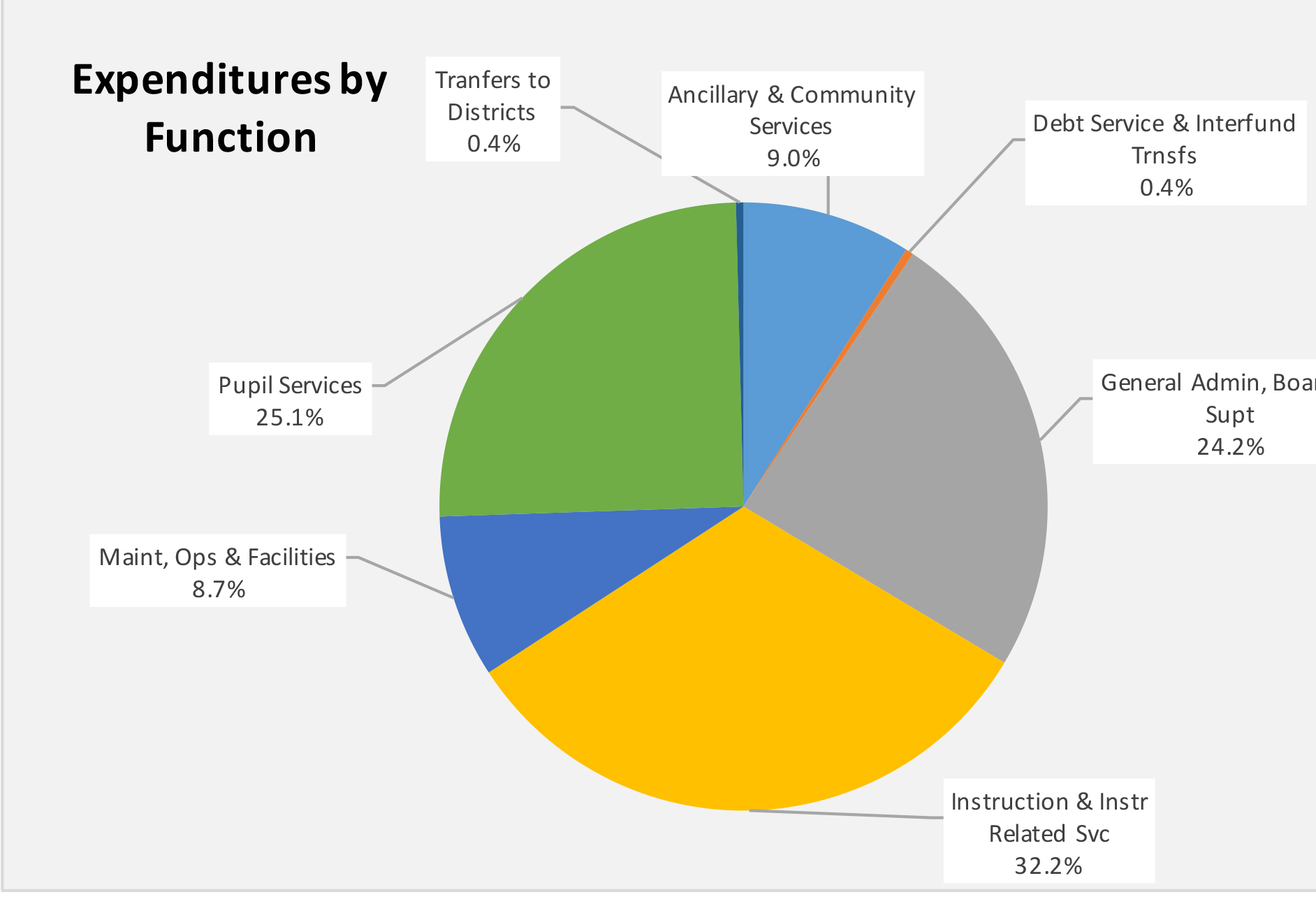 Pie chart presenting expenditures by function