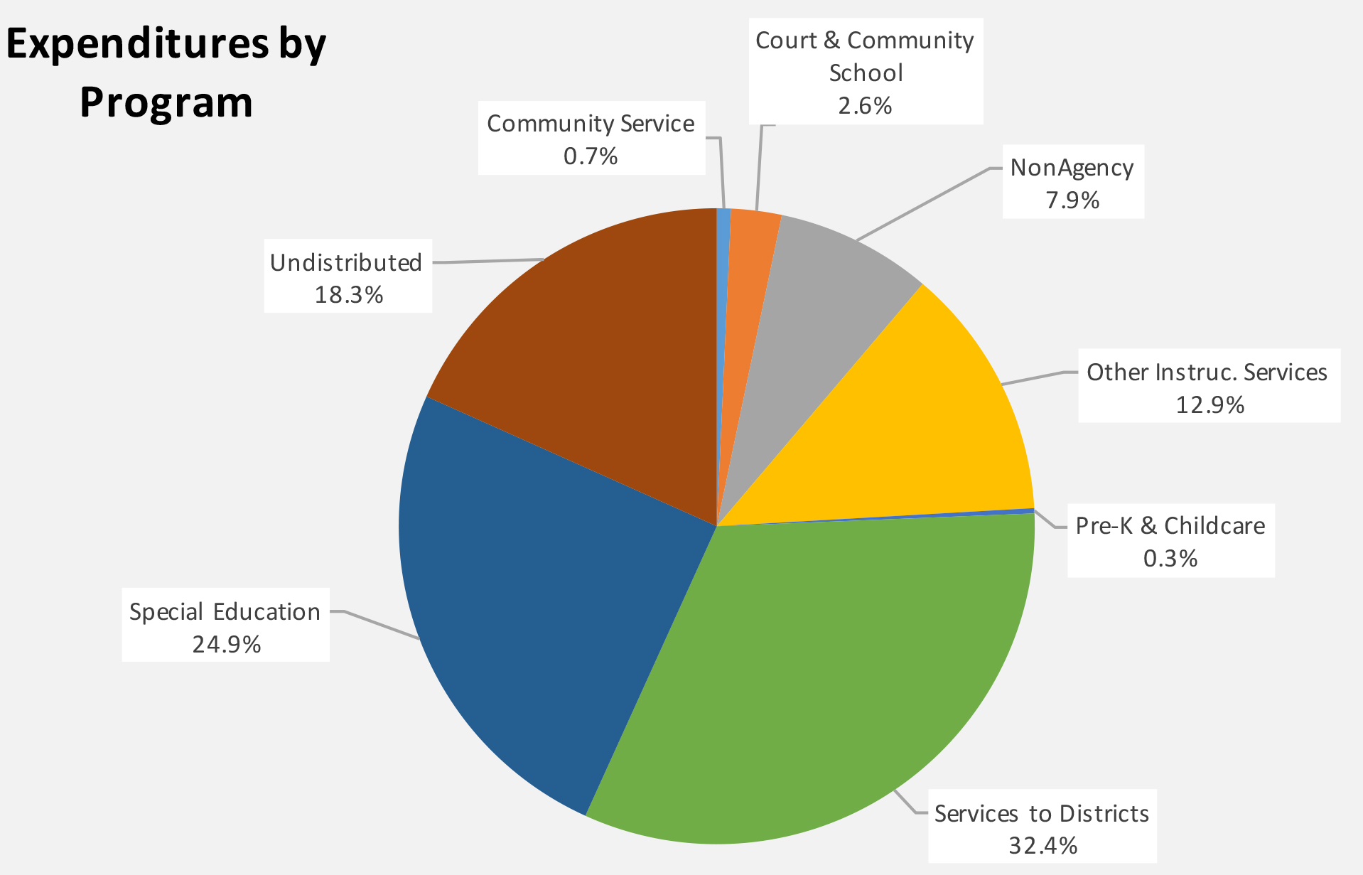 Pie chart presenting Expenditures by program
