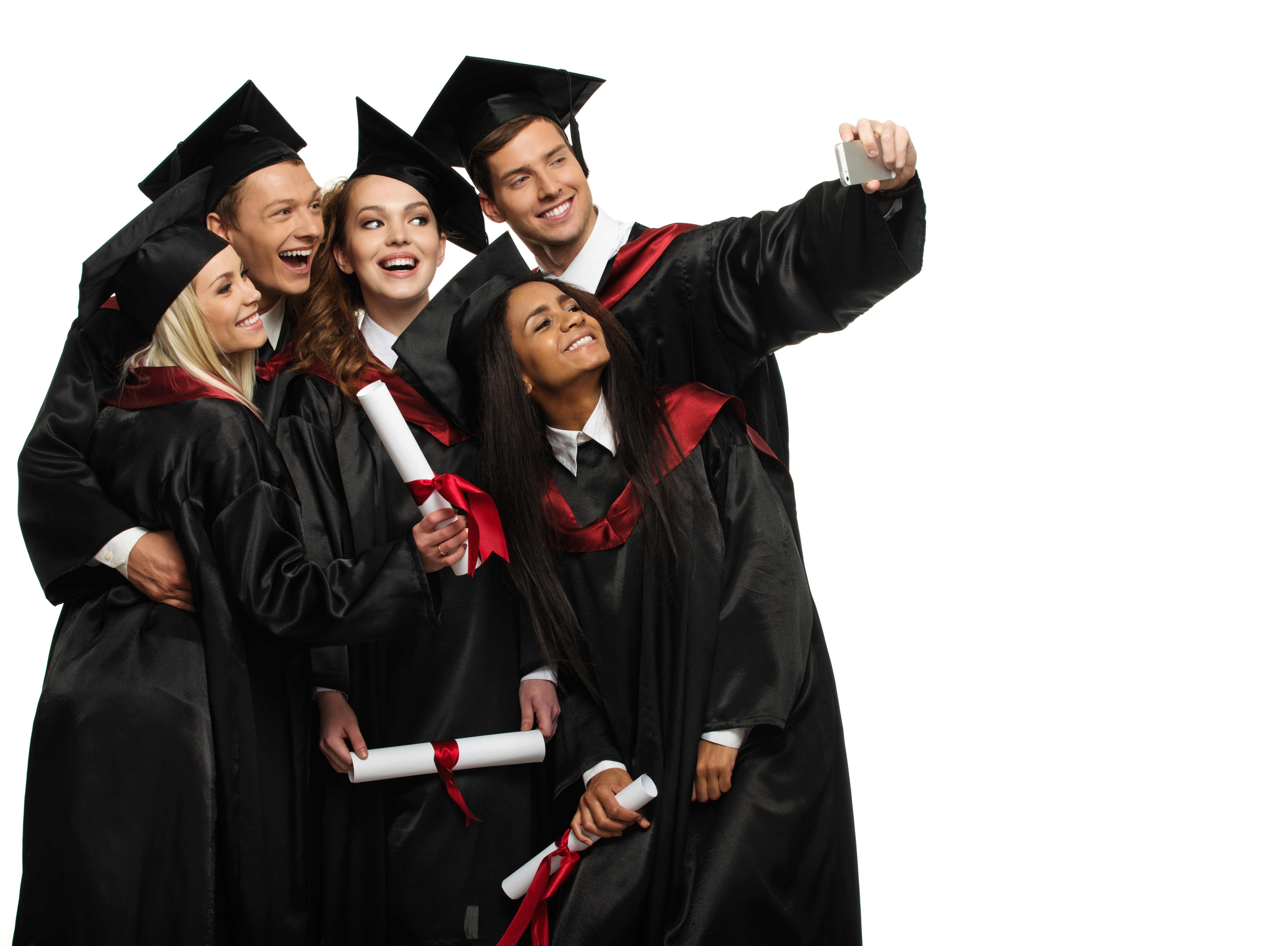 Stock photo of a group of high school graduate