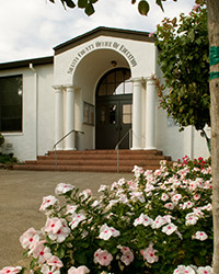Front steps on the Magnolia Avenue main office for Shasta County Dept. of Ed.